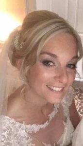 Bride smiling. Bridal Makeup done.